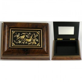 Damascene Gold Bird Wooden Jewelry Box MI7004BIRD