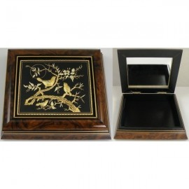 Damascene Gold Wooden Jewelry Box MI7000BIRD