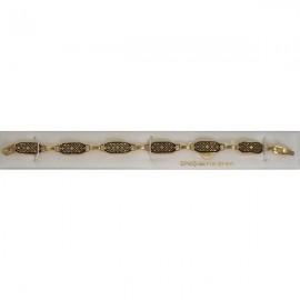 Damascene Gold Geometric Link Bracelet Rectangle