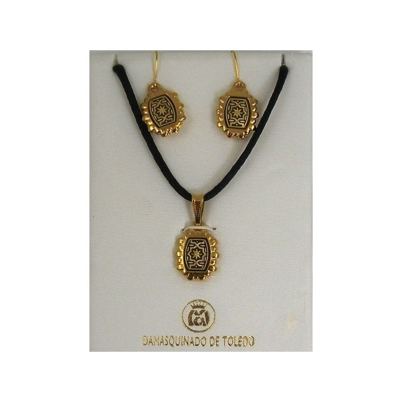 damascene gold star rectangle necklace and earrings style 8403