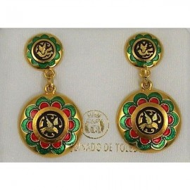 Damascene Gold with Red and Green Enamel Bird Earrings