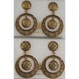 Damascene Gold Geometric 28mm Round Earrings
