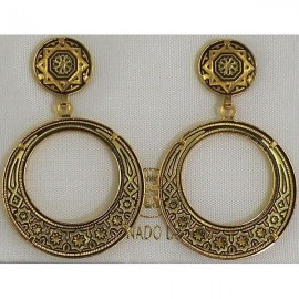 Damascene Gold Star 28mm Drop Earrings