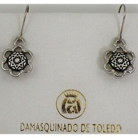 Damascene Silver Star Flower Drop Earrings