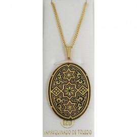 Damascene Gold Star of David Oval Pendant style 3356