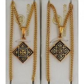 Damascene Gold Geometric Diamond Pendant 2281