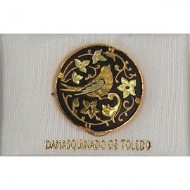 Damascene Gold Bird Round Pin 2520
