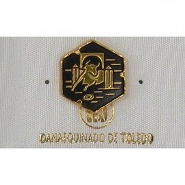 Damascene Gold Bull Hexagon Pin 2532