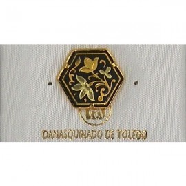 Damascene Gold Flower Hexagon Pin 2532