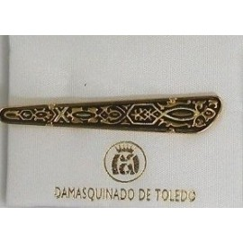 Damascene Gold Mens Tie Bar Geometric 2601