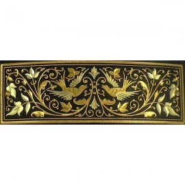 Damascene Gold Bird Rectangle Barrette 2346
