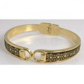 Damascene Gold Star Bangle Bracelet Oval