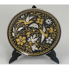 Damascene Gold Silver Decor Plate Bird Design 4