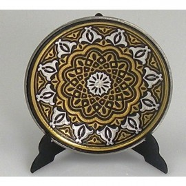 Damascene Gold Silver Decor Plate Geometric 1
