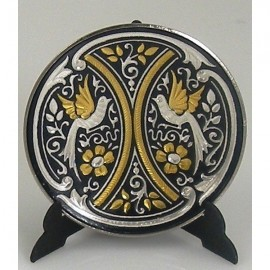 Damascene Gold Silver Bird Decor Plate 9