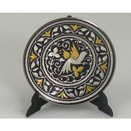 Damascene Gold Silver Bird Decor Plate 8
