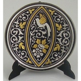 Damascene Gold Silver Bird Decor Plate 7