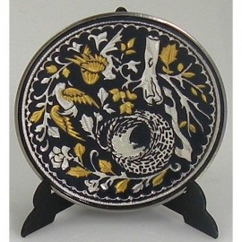 Damascene Gold Silver Bird Decor Plate 5