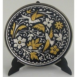 Damascene Gold Silver Bird Decor Plate 4