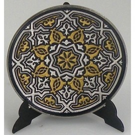 Damascene Gold Silver Geometric Decor Plate 2