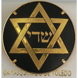 Damascene Gold Star of David Round Brooch