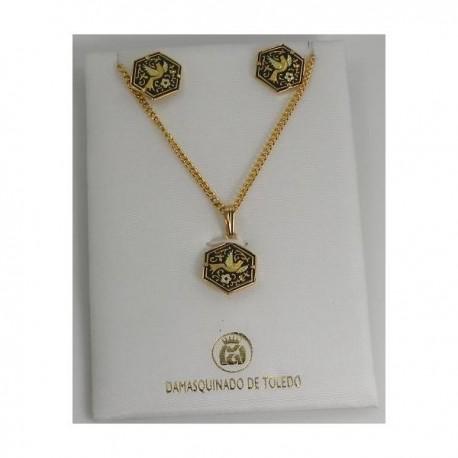 Damascene Gold Hexagon Bird Earrings Necklace Set ...