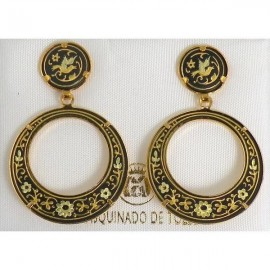 Damascene Gold Bird 28mm Round Drop Earrings