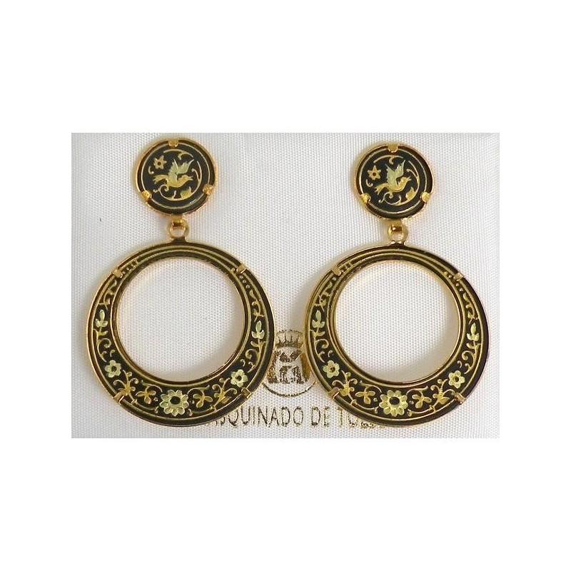 Damascene Gold Bird 28mm Round Drop Earrings | 800 x 800 jpeg 113kB