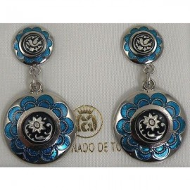 Damascene Silver and Blue Enamel Flower Earrings