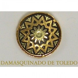 Damascene Gold Star Round Pin