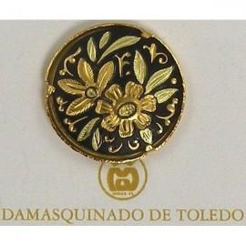 Damascene Gold Flower Round Pin