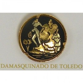 Damascene Gold Flamenco Dancer Round Pin