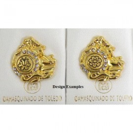 Damascene Gold Aquarius Zodiac Pin