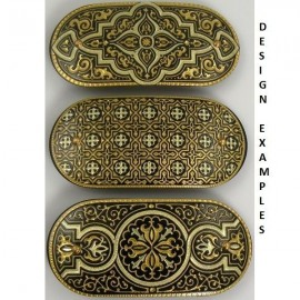 Damascene Gold Geometric Hair Barrette style 2340