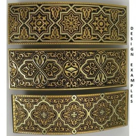 Damascene Gold Geometric Hair Barrette style 2346