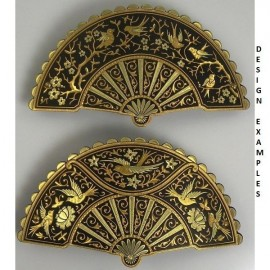 Damascene Gold Bird Fan Hair Barrette style 2344