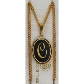 Damascene Gold Letter C Oval Pendant