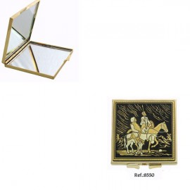 Damascene Quixote and Panza Square Compact Mirror
