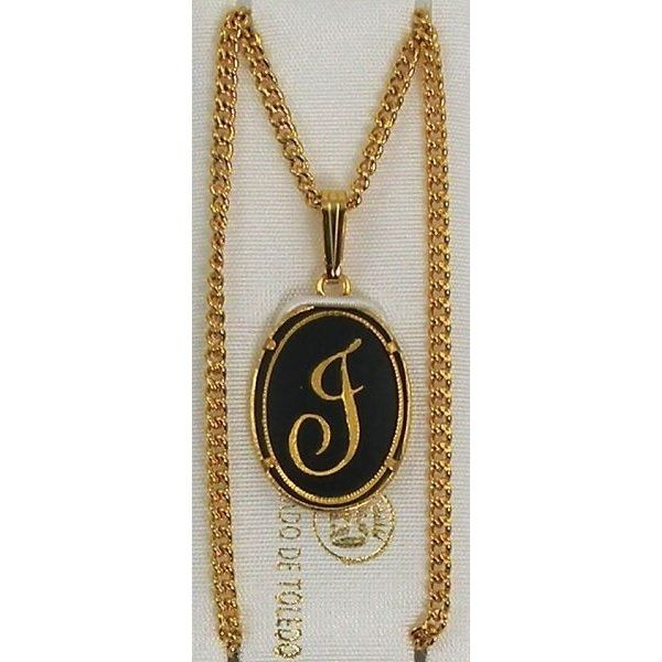 Damascene gold letter j oval pendant mozeypictures Choice Image