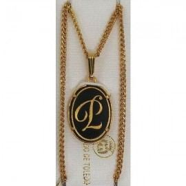 Damascene Gold Letter P Oval Pendant