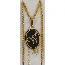 Damascene Gold Letter W Oval Pendant