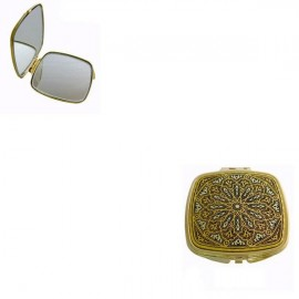 Damascene Gold Ornate Compact Mirror