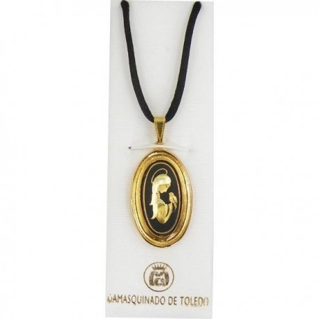 Damascene Gold Virgin Mary Oval Pendant style 8220-1