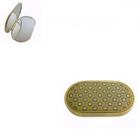 Damascene Gold Embellished Compact Mirror