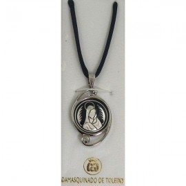 Damascene Silver Virgin Mary Round Pendant