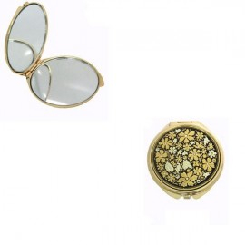 Damascene Gold Wildflowers Compact Mirror