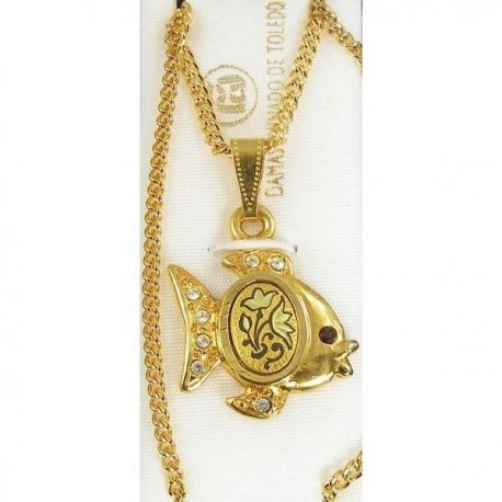 Damascene gold fish pendant for Gold fish pendant