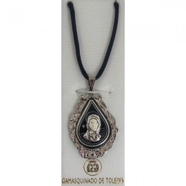 Damascene Silver Virgin Mary Pendant style 9217-1
