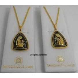 Damascene Gold Virgin Mary Triangle Pendant