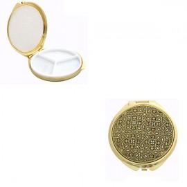 Damascene Gold Geometric Round Pill Box style 8503-3